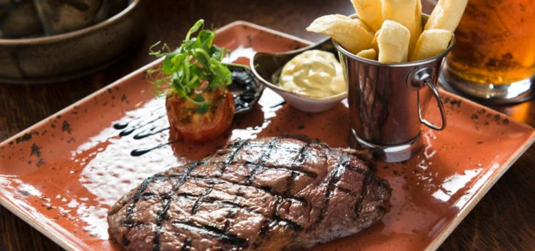 meat and fries on a square plate at hams hame pub and grill