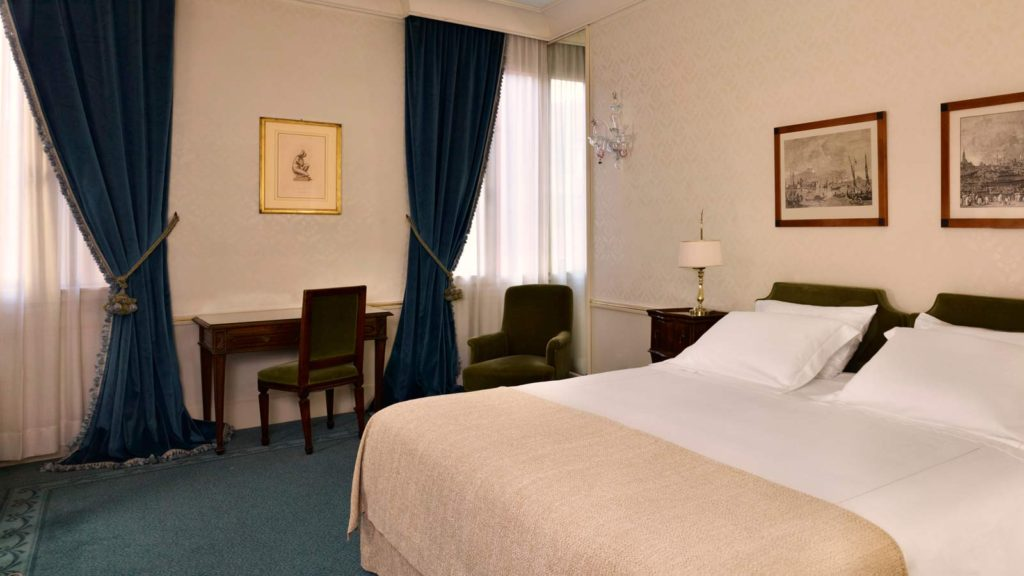The deluxe double room at the hotel Danieli in Venice, Italy. A room perfect for two travelers.