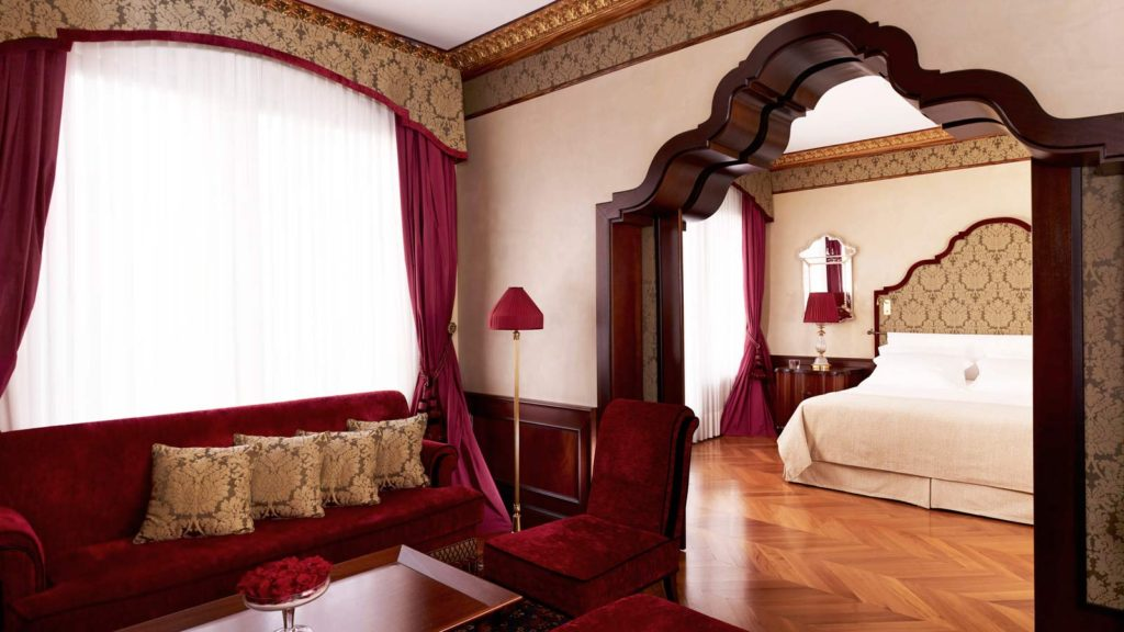 Our Executive Suites, conceptualized by French designer Jacques Garcia, feature dramatic archways, elegant detailing and luxurious fabrics in rich Doge red and pale greens. The rooms overlook the famed Doge's Palace on the Piazzetta San Marco.