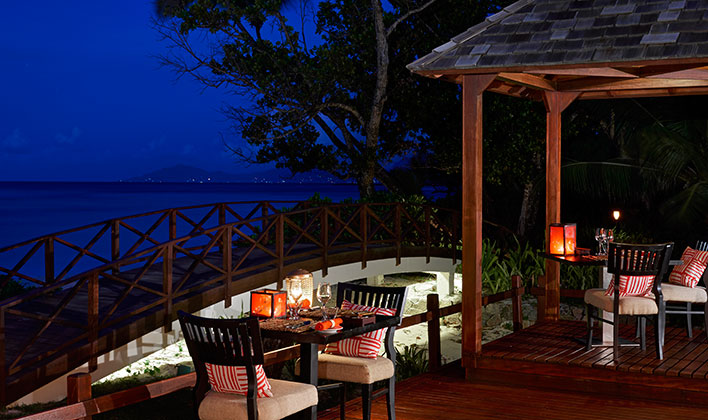 dinner terrace at the Hilton Seychelles Labriz Resort & Spa