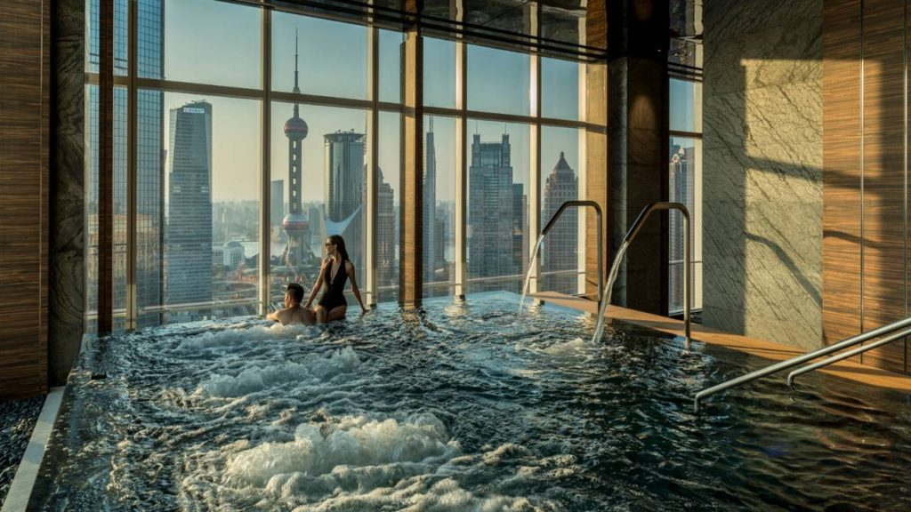 one of the luxurious pools at the four seasons hotel in shanghai