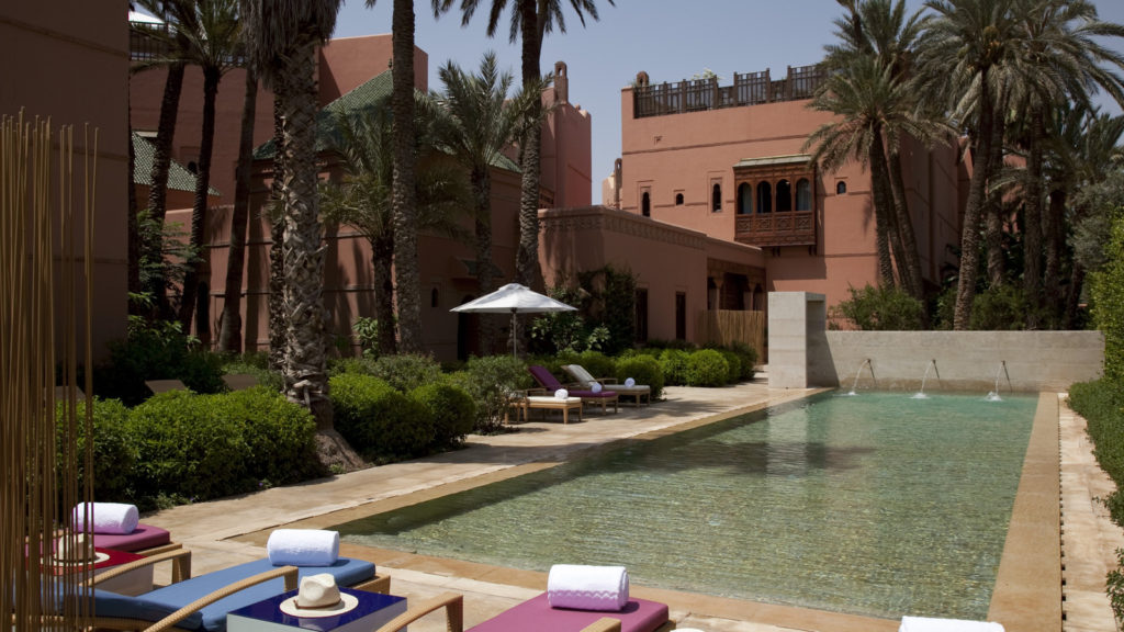 gorgeous pool at the Royal Mansour hotel in Marrakech