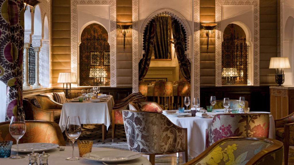 one of the gorgeous restaurants available at the Royal Mansour hotel
