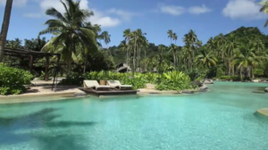 The pool area at Laucala Island Resort
