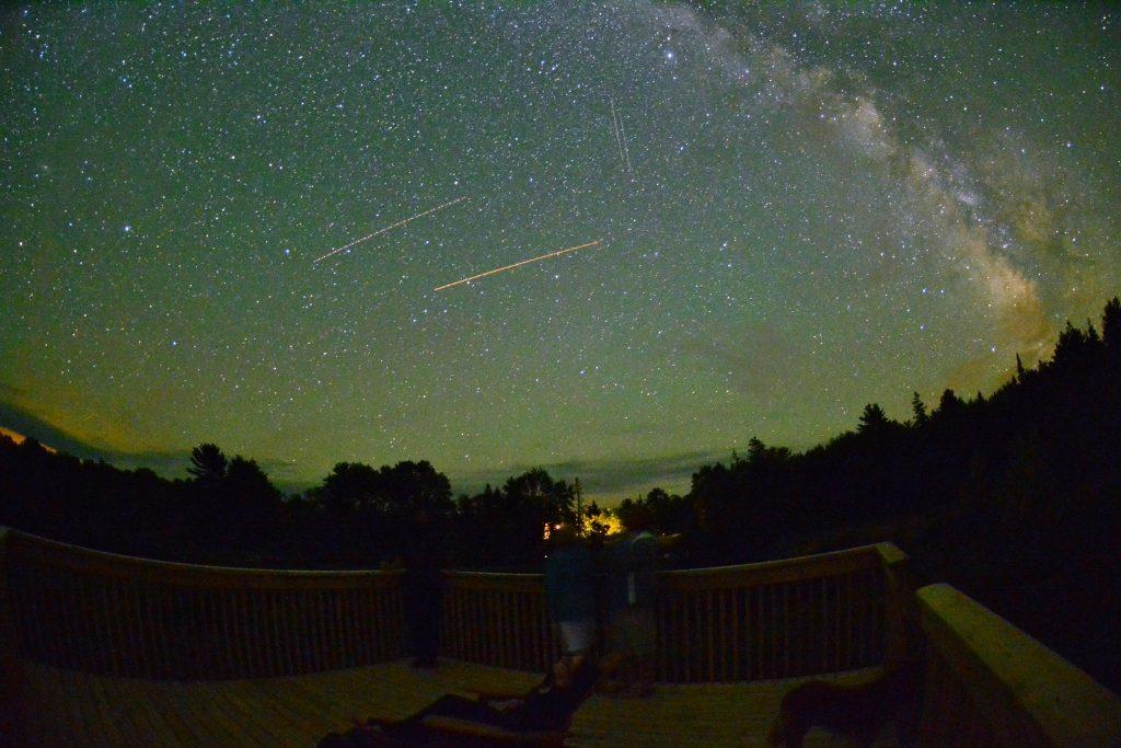 dark sky with shooting stars