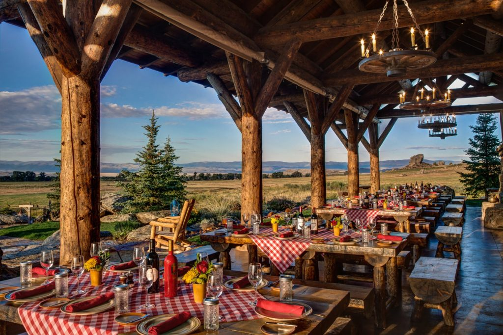 Outdoor dining at the Brush Creek Ranch