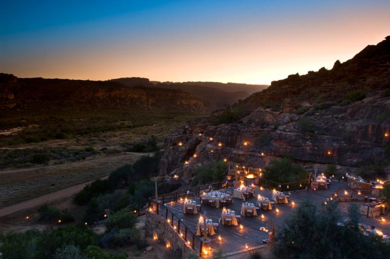 The Bushman's Kloof Wilderness Reserve & Wellness Retreat outdoor dinner