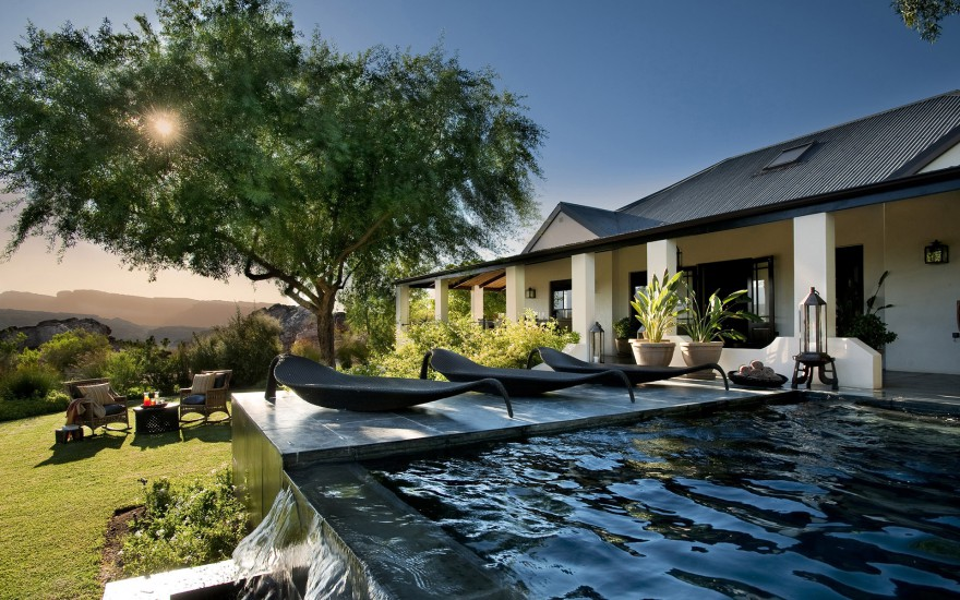 The pool and outdoor area at the Bushman's Kloof Wilderness Reserve & Wellness Resort