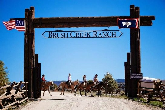 Welcome sign at Brush Creek Ranch