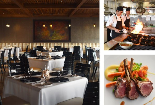 Three picture collage: view of dining room, chefs cooking with an open flame, and lamb chops on white plate