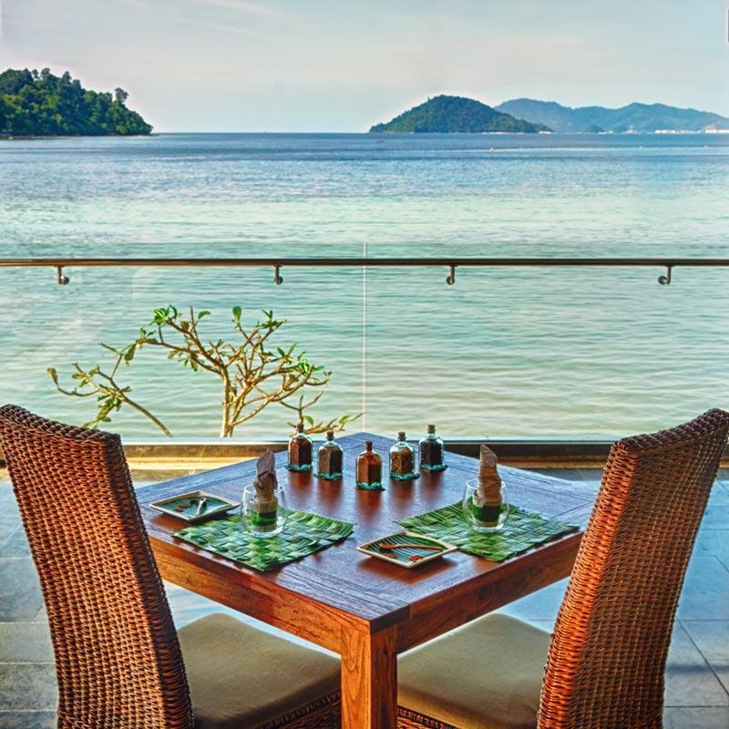 Table set at the Macac Restaurant in Gayan Marine Resort