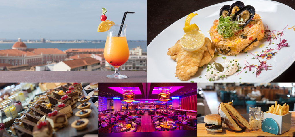 Collage of photos from each of the EPIC SANA Luanda Hotel's restaurants/bars