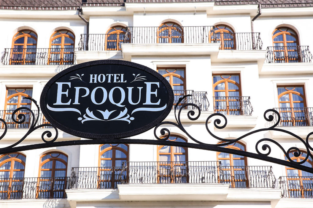 Hotel Epoque sign outside the hotel