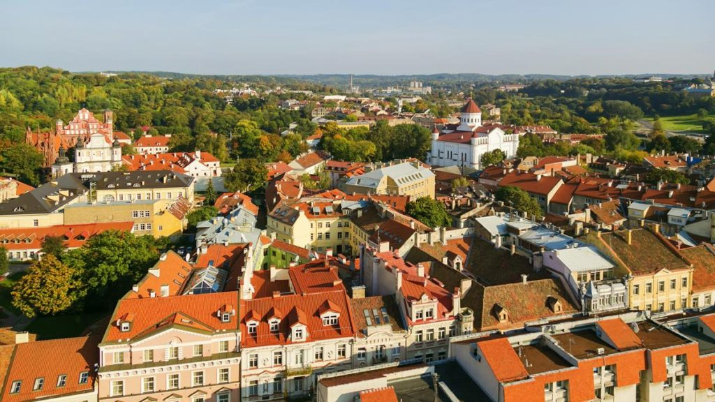 An aerial view of old buildings on Cathedral Square in Vilnius.