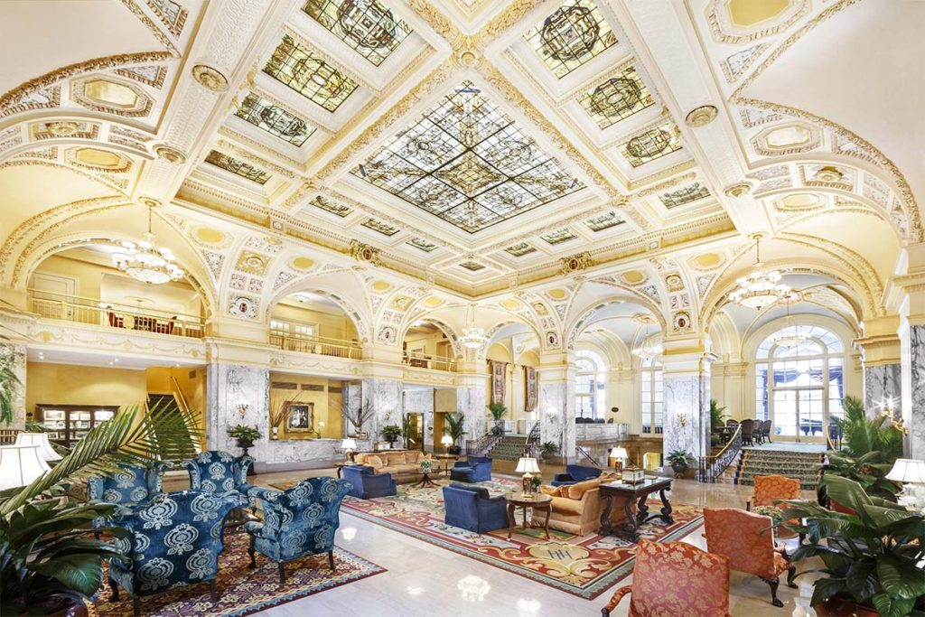 Hermitage Hotel lobby with famous painted skylight