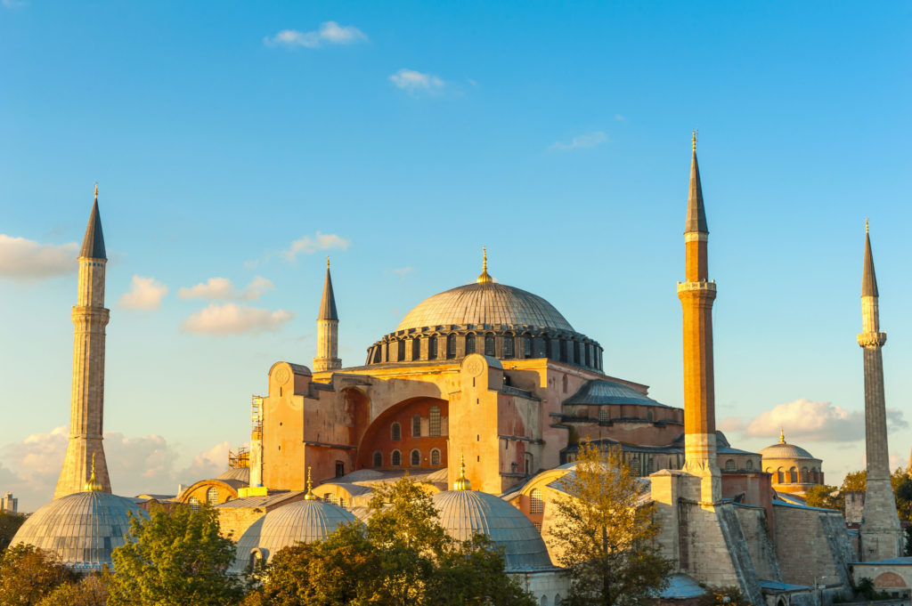Hagia Sophia in Istanbul Turkey with blue sky background