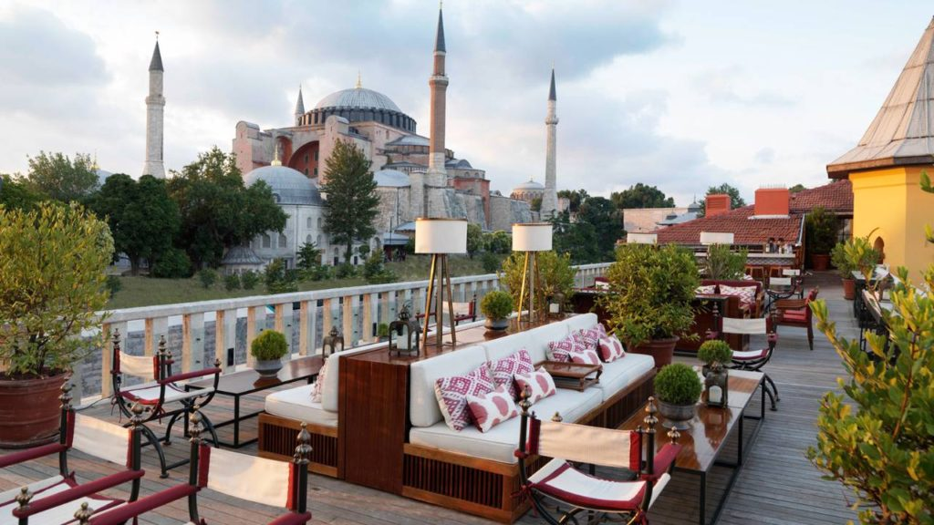 A'YA Rooftop Lounge of Four Seasons Hotel Istanbul at Sultanahmet with view of Hagia Sophia in the background in Istanbul Turkey