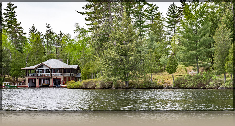 A lake view of the Boathouse at The Point Resort on Lake Saranac
