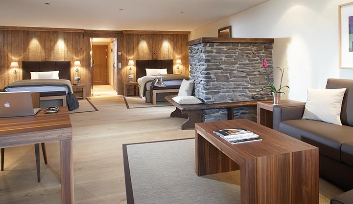 stone and wooden room at the hotel